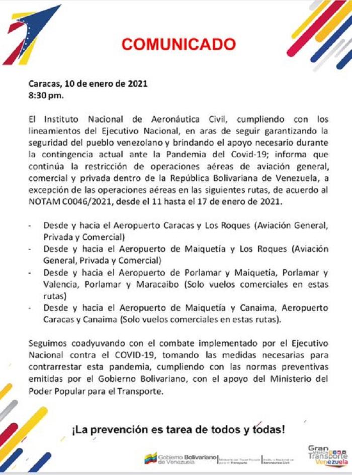4 rutas quedaron excluidas de restricciones aéreas tras comunicado del INAC - enero 11, 2021 9:00 am - NOTIGUARO - Economia
